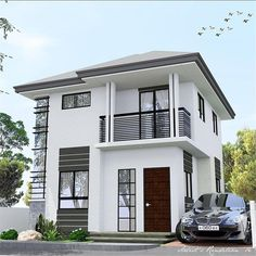 Source Luxury Modern Design Low cost small residential prefabricated houses india on m. Two Story House Design, 2 Storey House Design, Best Modern House Design, Design Your Dream House, House Front Design, Small House Design, Model House Plan, House Plans, Philippines House Design