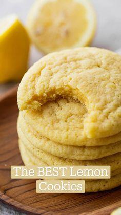 Lemon Cookies, Sugar Cookies Recipe, Cookies Soft, Cupcake Cookies, Cupcakes, Lemon Dessert Recipes, Easy Cookie Recipes, Lemon Recipes, Baking And Pastry