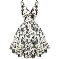 Voodoo Vixen Ivory Butterfly 1950s Dress Dresses ($42) ❤ liked on Polyvore featuring dresses, white gothic dress, ivory cocktail dress, prom dresses, winter white cocktail dress and goth dresses