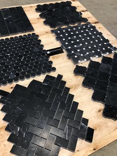 Photo straight from our warehouse in the US. A glimpse into the variety of black natural marble mosaics we offer.