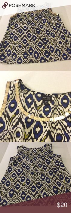 Nicole Miller Sleeveless Tunic Stunning black, off white, blue and lime green print top with gorgeous gold detail at neckline. Top is brand new without tags. Nicole by Nicole Miller Tops Blouses