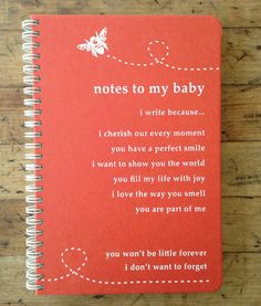 Notes To My Baby Journal  / Coral / Journal / by makemynotebook, $15.00