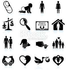 modern parenting and adoption black & white vector icon set Royalty Free Stock Vector Art Illustration