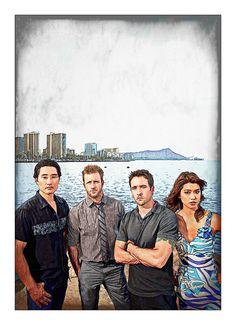 Hawaii Five-O Cast: Art That Makes Your Brain Happy!    An Art Work of Hawaii Five-O Cast by Dan Newburn of the Morgan-Newburn Foundation for the Arts, Las Vegas, Nevada.