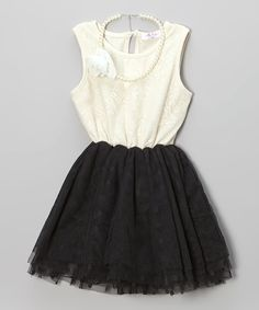 White & Black Polka Dot Lace Dress & Necklace - Toddler & Girls by Frills du Jour #zulily #zulilyfinds