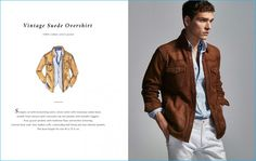 Alexandre Cunha is safari chic, wearing Massimo Dutti's vintage suede overshirt.