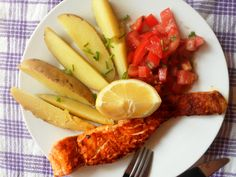 Grilled salmon, tomato salsa and potatoes.