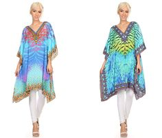 This caftan dress is flattering and midlength, it has a v-neck with rhinestone details. Dress is thin, lightweight. This dress is not structured so it drapes beautifully. Material enhances comfort, and sleeves are wide and loose. Patterns and color combinations are unique. Dress is handmade. #beautiquestyle #stylish #newarrivals #beach #pretty #bohemian #cardigan #brand #boho #white #summer #fun #beautiful #printed #clothing #fashion #style #outfit #glam #shopping #dress