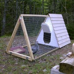 Simple A-Frame chicken tractor. A coop like this can  be moved around the yard to take advantage of sunlight, and fresh greens.