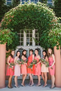 Coral Pink and Peach Bridesmaids Dresses | photography by http://www.dianalupu.com