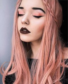 Peachy pink wig with crown braid hairstyle by s_alesia