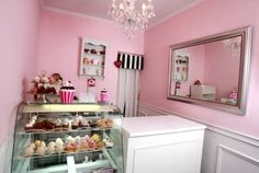 love the pink, white & black. ours is mint green but very similar.. love the mirror idea
