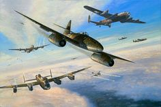 Me262 pack attacking Avro Lancasters
