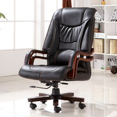 Exécutif Collé En Cuir Chaise de Bureau Pivotant Jambes Bois Moderne Maison De Luxe Mobilier de Bureau Patron Ergonomique Chaise de Bureau Accoudoirs