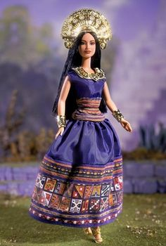 Princess of the Incas Barbie Doll  Princess of the Incas™Barbie®doll is inspired by the regal dynasty of an exotic age. She wears a taffeta dress of deep blue with a colorful decorated border patterned after authentic Incan textiles. Throughout this empire, it is believed that the kings and queens are descendants of Inti, the powerful Sun god. And so, the divine princess wears many pieces of dazzling golden jewelry.   Price: $140.00
