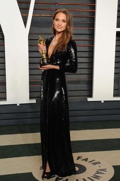 WHO: Alicia Vikander WHAT: Louis Vuitton WHERE: Vanity Fair Oscar party WHEN: February 28, 2016