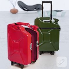 - German design firm Ivorilla has turned the humble jerry can into a new traveler's accessory: gas can luggage. The gas cans are sawed down the. Jerry Can Mini Bar, Whatsapp Tricks, Reuse Recycle, Plastic Bottles, Traveling By Yourself, Diy Projects, The Incredibles, Canning, Cool Stuff