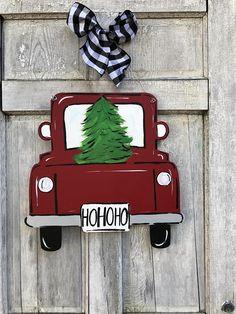 Christmas door hanger red truck door hanger new door hanger