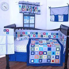 12 pieces Baby Boy crib bedding nursery set,Modern geometric design,Blue Green in Baby, Nursery Bedding, Nursery Bedding Sets