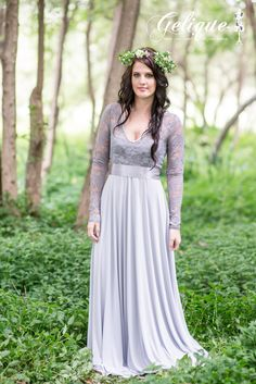 Katherine design Gelique bridesmaids dress. dusty pink, pastel purple bridesmaids dress. Long sleeve lace dress. High waist , flowy skirt bridesmaids dress. Available in a variety of sizes and colours from Brides of Somerset. Long, knee-length or short available. Knee length bridesmaids dress.