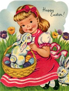 Shop Happy Easter - Little Girl & Bunny - Retro Vintage Holiday Card created by RetroDazes. Vintage Easter, Vintage Holiday, Vintage Theme, Retro Vintage, Vintage Images, Vintage Style, Easter Garland, Old Cards, Vintage Greeting Cards