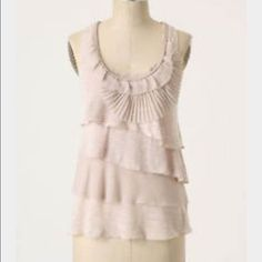 Deletta pink tiered ruffle tank top Deletta sleeveless top with asymmetrical ruffles; some are chiffon and pleated. Tiers are on back of top as well. EUC, worn twice. Anthropologie Tops Tank Tops