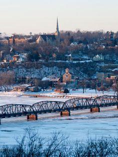 Stillwater, MN in winter - frozen St Croix River.--streets were home where my roots were grown--