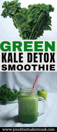Green Kale Detox Smoothie Awesome healthy breakfast smoothie for fat loss Healthy Fitness Raw Vegan Gluten-Free Green Smoothie Recipe Healthy Weight Loss Superfood Fat Burning Metabolism Immune System Antioxidants breakfastsmoothie Weight Loss Meals, Weight Loss Smoothies, Healthy Weight Loss, Weight Loss Drinks, Healthy Recipes, Healthy Drinks, Diet Drinks, Healthy Habits, Beverages
