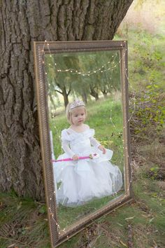 Cinderella theme kids photography.  The led light strings and mirror make it feel like a fairy tale.