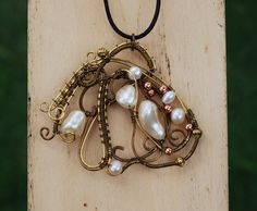 wire wrap pearl necklace