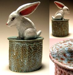 Carrianne L Hendrickson - Rabbit box (lidded vessel). Pottery Animals, Ceramic Animals, Clay Animals, Ceramic Pottery, Pottery Art, Pottery Ideas, Clay Box, How To Make Clay, Ceramic Boxes