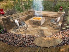 Possible bench option for fire pit.  The new brick fire pit and small patio offers a quiet spot for conversation and warmth for cool evenings.