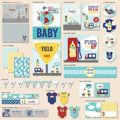 """Cars & Airplanes Baby Shower - """"The Hostess"""" PRINTABLE Party Collection. $22.00, via Etsy."""