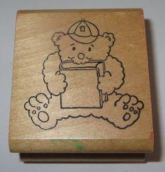 Teddy Bear Rubber Stammp Reading Book Baseball Hat Robert Blake Kidstamps 1985 #Kidstamps #Reading