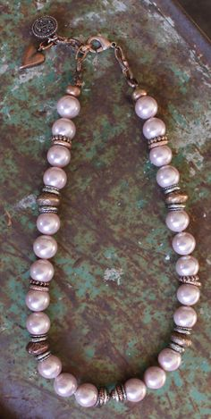 Lustrous pastel pink pearl necklace dotted with a gorgeous array of copper rings. Finished with lobster clasp fastening. Pink Pearl Necklace, Diy Necklace, Jewelry Necklaces, Copper Rings, Jewellery Making, Pastel Pink, Lobster Clasp, Jewelry Ideas, Beading