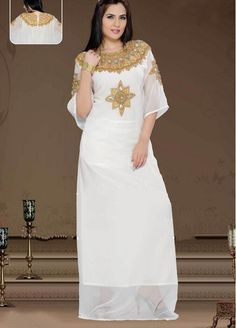 Discount White Islamic Muslim Dresses Scoop Half Sleeve Long Chiffon Beaded Evening Dress For Women  From Trustful Online Seller Easebuydress