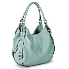 LOVE this purse from target in mint/blue .. and I am very very picky about purses :p Versace Handbags, Cheap Purses, Cute Bags, Hobo Purses, Hobo Handbags, Purses And Handbags, Leather Handbags, Fendi, Gucci