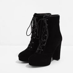 Platform Calf Boots | CHARLES & KEITH (3,655 DOP) ❤ liked on Polyvore featuring shoes, boots, velvet boots, mid calf high heel boots, chunky-heel boots, high heel boots and zip boots