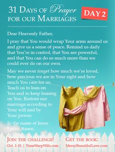 Day 2 - 31 Days of Prayer for Our Marriages