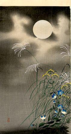 Japanese art Ohara Koson - Moon and Blue flowers, Japan Japanese Painting, Chinese Painting, Chinese Art, Ohara Koson, Art Chinois, Art Asiatique, Art Japonais, Art Et Illustration, Illustrations