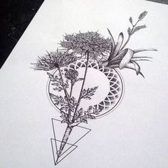 geometric flower tattoo - Google Search...