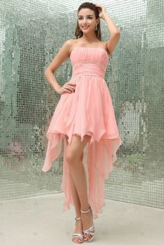 A-line Strapless Short Front Long Back Chiffon With Beaded Prom Party Dresses