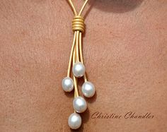 Pearl and Leather Necklace  Large 15mm Pearls  Pearl and