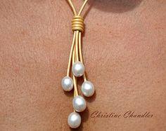 Perla y collar de cuero  plata círculo collar de cuero