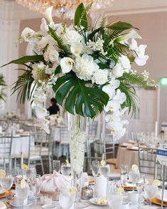 Great Photographs tropical Wedding Centerpieces Suggestions Centrepieces tend to be just to the guests. They stumbled on demonstrate enjoy and appreciation with the coupl. Tropical Wedding Centerpieces, Tropical Wedding Decor, Palm Wedding, Wedding Venue Decorations, Flower Centerpieces, Floral Wedding, Wedding Flowers, Centerpiece Ideas, Miami Wedding