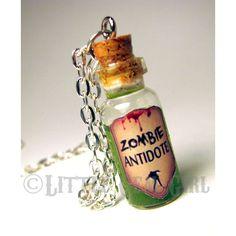 Zombie Antidote - Walking Dead - Glass Bottle Cork Necklace - Anti Virus Potion Liquid Vial Charm - Green Shimmer - Magic Spells