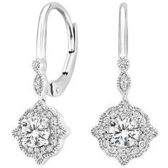 18K White Gold Cadenza Halo Diamond Earrings (2/3 ct. tw.) ($1,750) ❤ liked on Polyvore featuring jewelry, earrings, diamond earrings, 18k diamond earrings, vintage style jewelry, white gold jewellery and 18 karat gold earrings