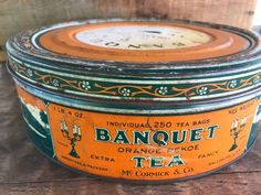 Orange Pekoe Tea, Kitchen Display, Tea Tins, Wood Stamp, This Is Us Quotes, Vintage Tins, Vintage Advertisements, Banquet, Coffee Cans