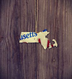 Upcycled Massachusetts License Plate Ornament by LicenseToCraft on Etsy