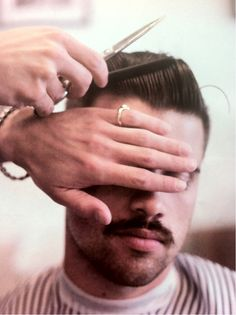 HairStyle and Moustache Moustaches, Hair And Beard Styles, Hair Styles, Men's Grooming, Great Hair, Vintage Hairstyles, Men Hairstyles, Haircuts For Men, Men's Haircuts